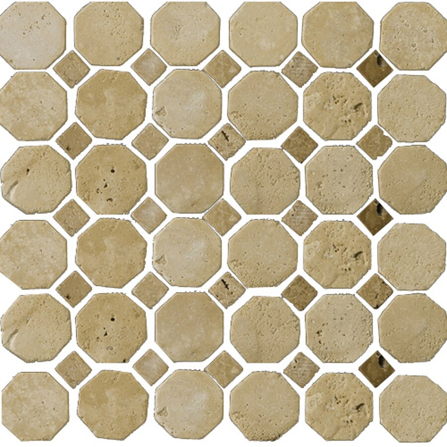 Emser 12-in x 12-in Octagon Beige/Mocha Natural Travertine Floor Tile
