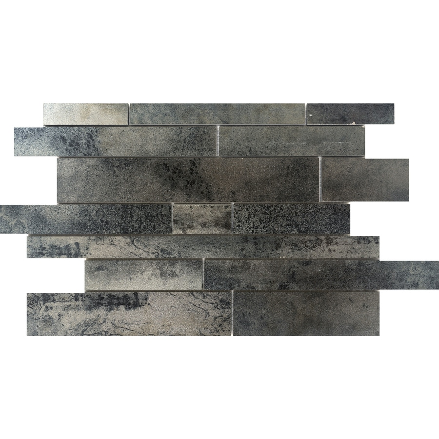 Emser 8-Pack Silver Linear Mosaic Porcelain Floor and Wall Tile (Common: 12-in x 18-in; Actual: 11.77-in x 18.98-in)