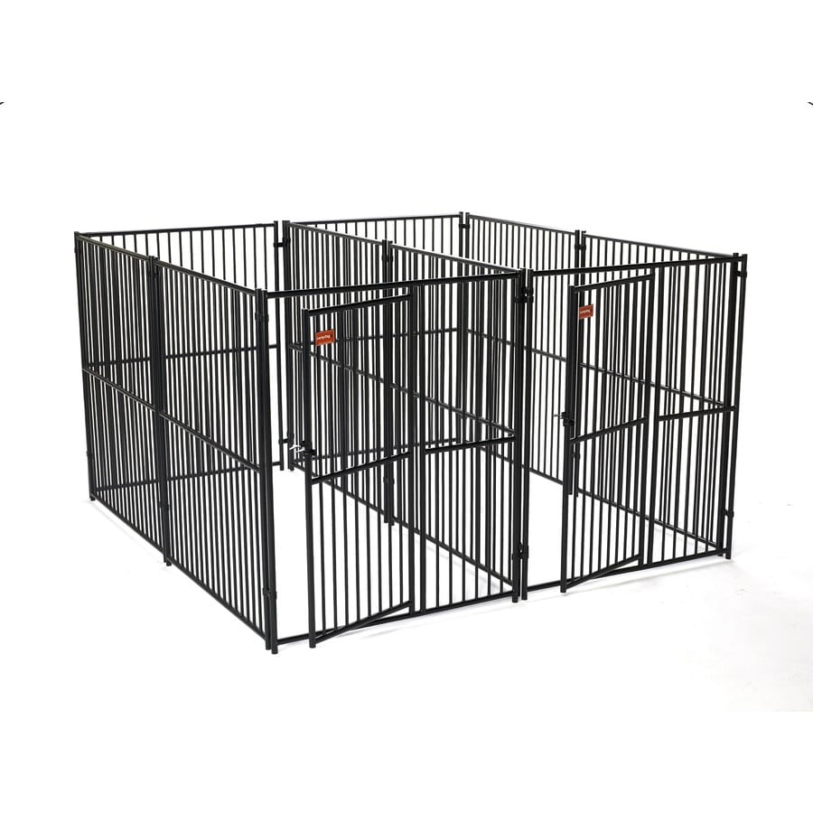 Shop lucky dog 10 ft x 5 ft x 6 ft outdoor dog kennel for Dog run fence home depot