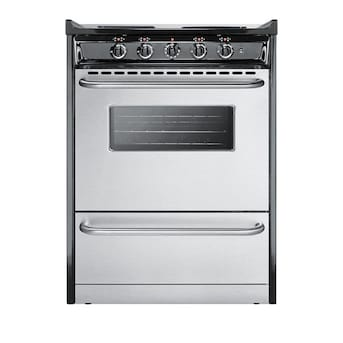 Summit Appliance 24 In 4 Elements 2 92 Cu Ft Slide In Electric Range Stainless Steel In The Single Oven Electric Ranges Department At Lowes Com