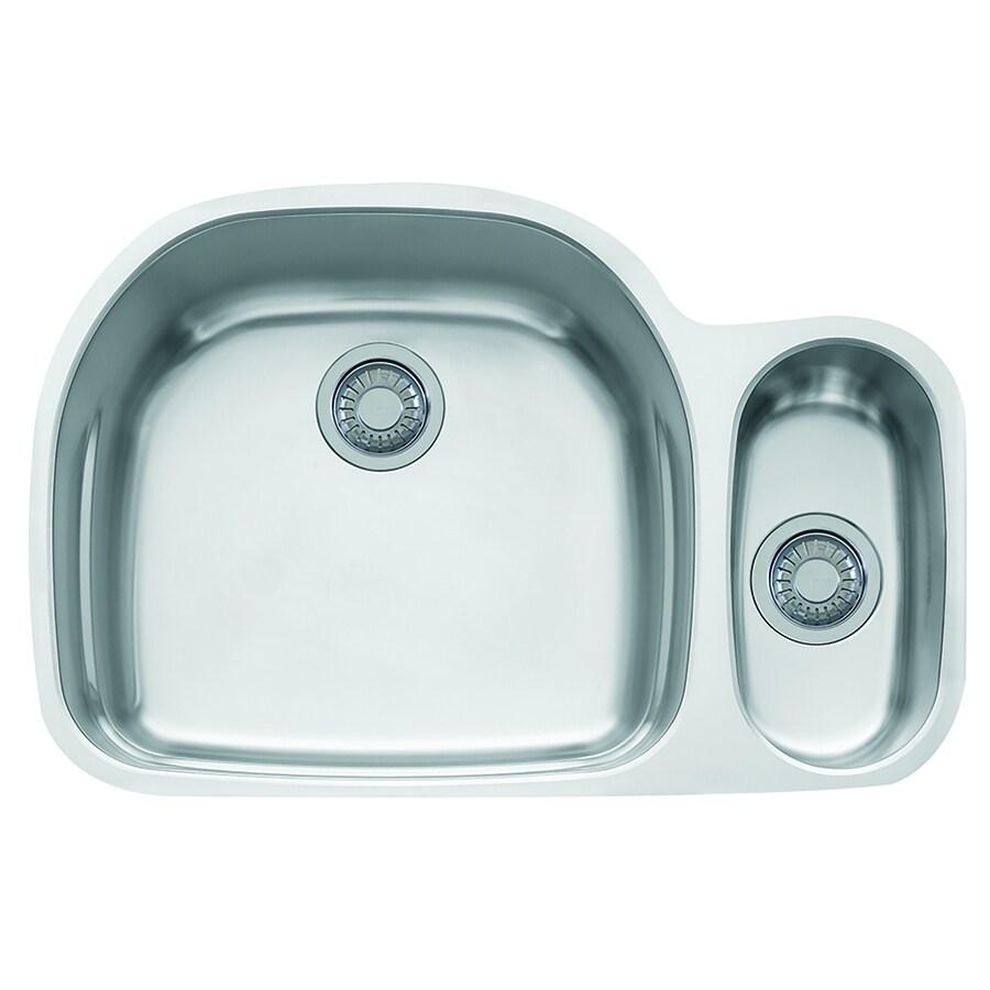 Franke Prestige 20.5-in x 31.125-in Stainless Steel Double-Basin Undermount Residential Kitchen Sink