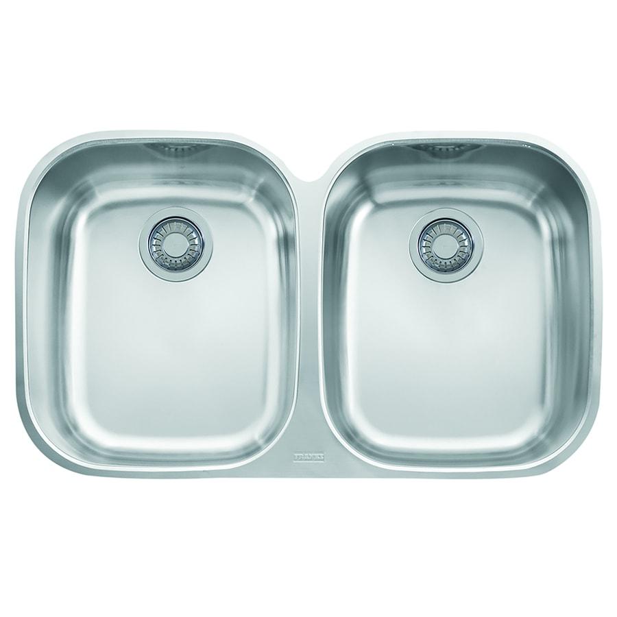 Franke Regatta 20.5-in x 34.0625-in Stainless Steel Double-Basin Undermount Residential Kitchen Sink