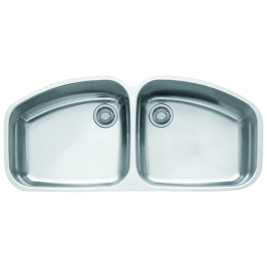 Franke Vision 20.875-in x 45.5-in Stainless Steel Double-Basin Undermount Residential Kitchen Sink