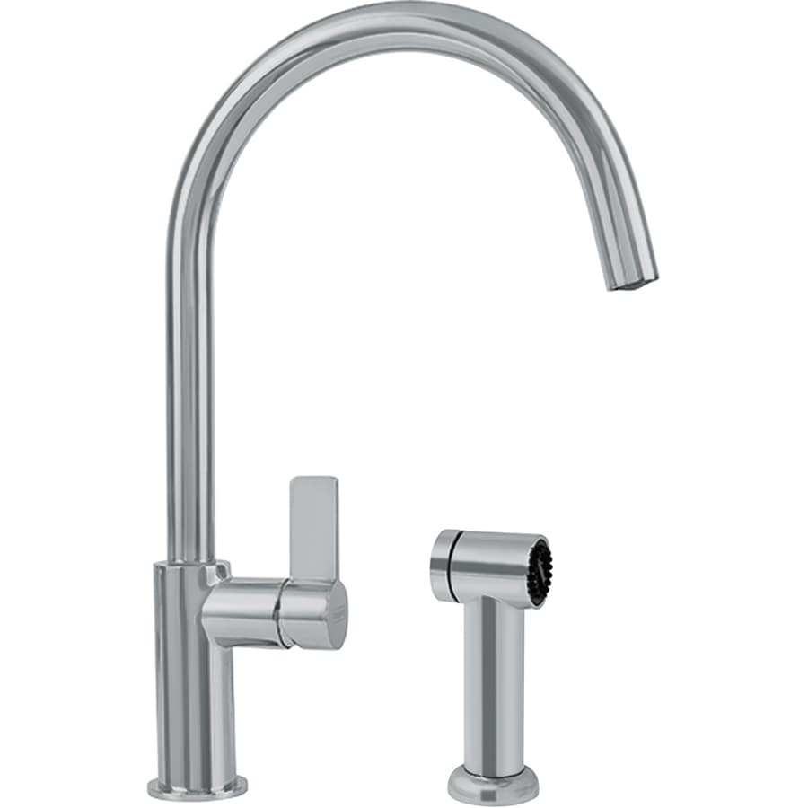 Franke Ambient Satin Nickel 1-Handle High-Arc Kitchen Faucet with Side Spray