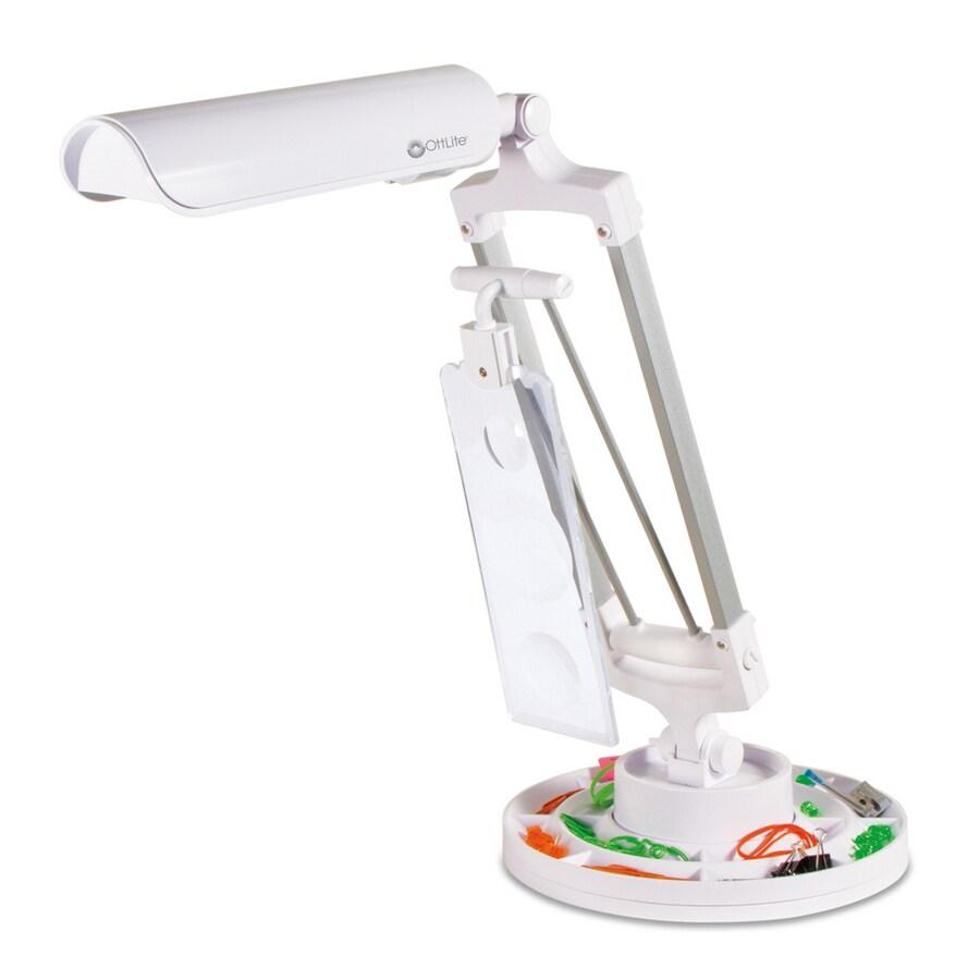 OttLite 26.5-in Adjustable White Desk Lamp with Plastic Shade