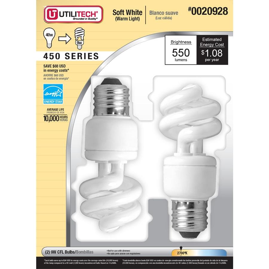 Utilitech 2-Pack 9-Watt (40W Equivalent) 2,700K Spiral Soft White Outdoor CFL Bulb ENERGY STAR
