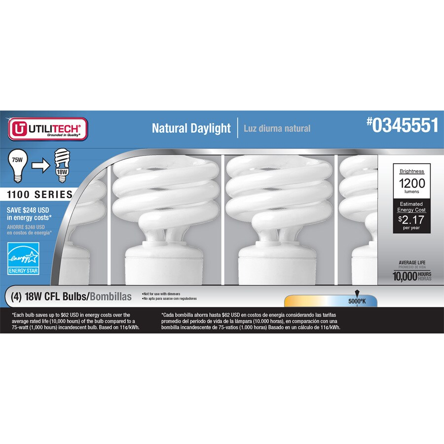 Utilitech 4-Pack 18-Watt (75W) Spiral Medium Base Daylight (5000K) Outdoor CFL Bulbs ENERGY STAR