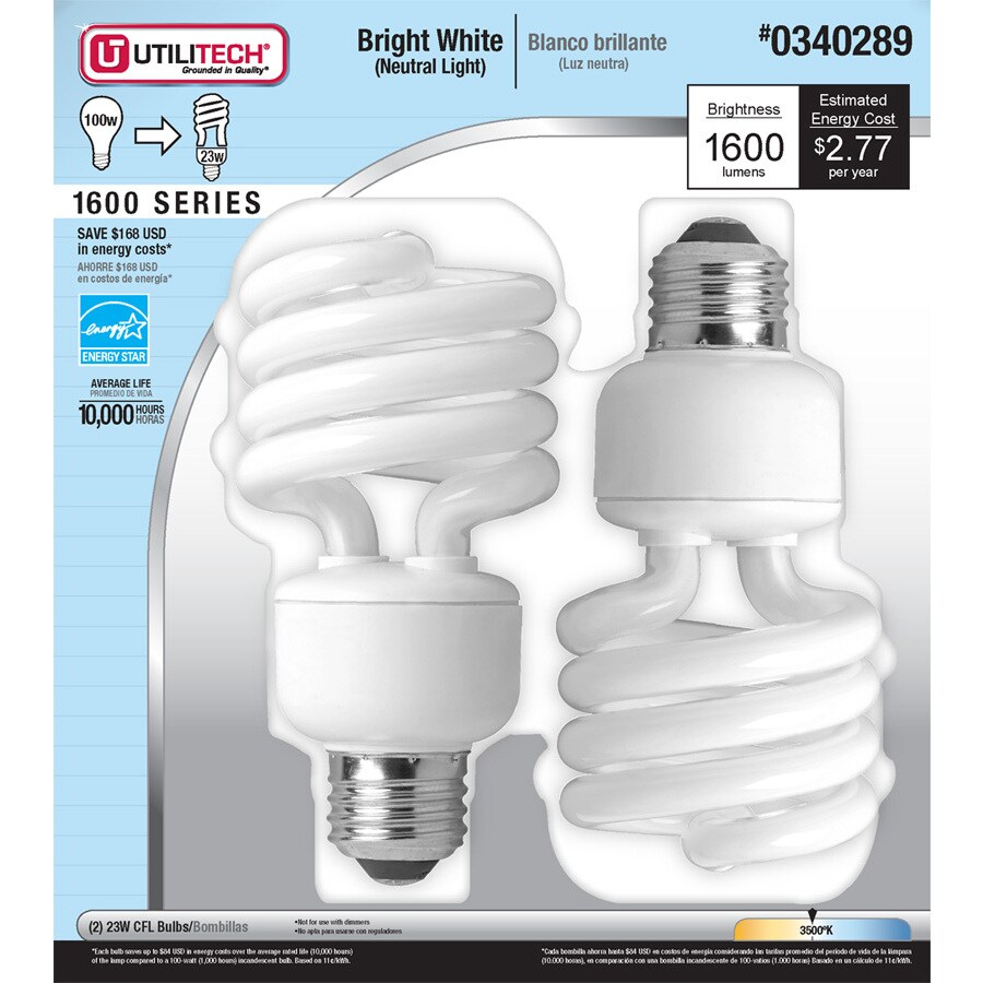 Utilitech 2-Pack 23-Watt (100W Equivalent) 3,500K Spiral Bright White Outdoor CFL Bulb ENERGY STAR