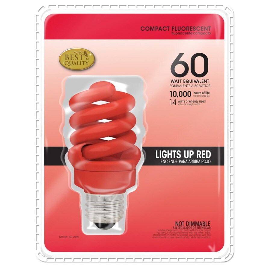 14-Watt (60W Equivalent) 3,000K Spiral Medium Base (E-26) Red Outdoor CFL Bulb