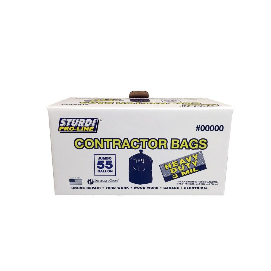 Sturdi Pro-Line 15-Pack 55-Gallon Black Outdoor Construction Trash Bags
