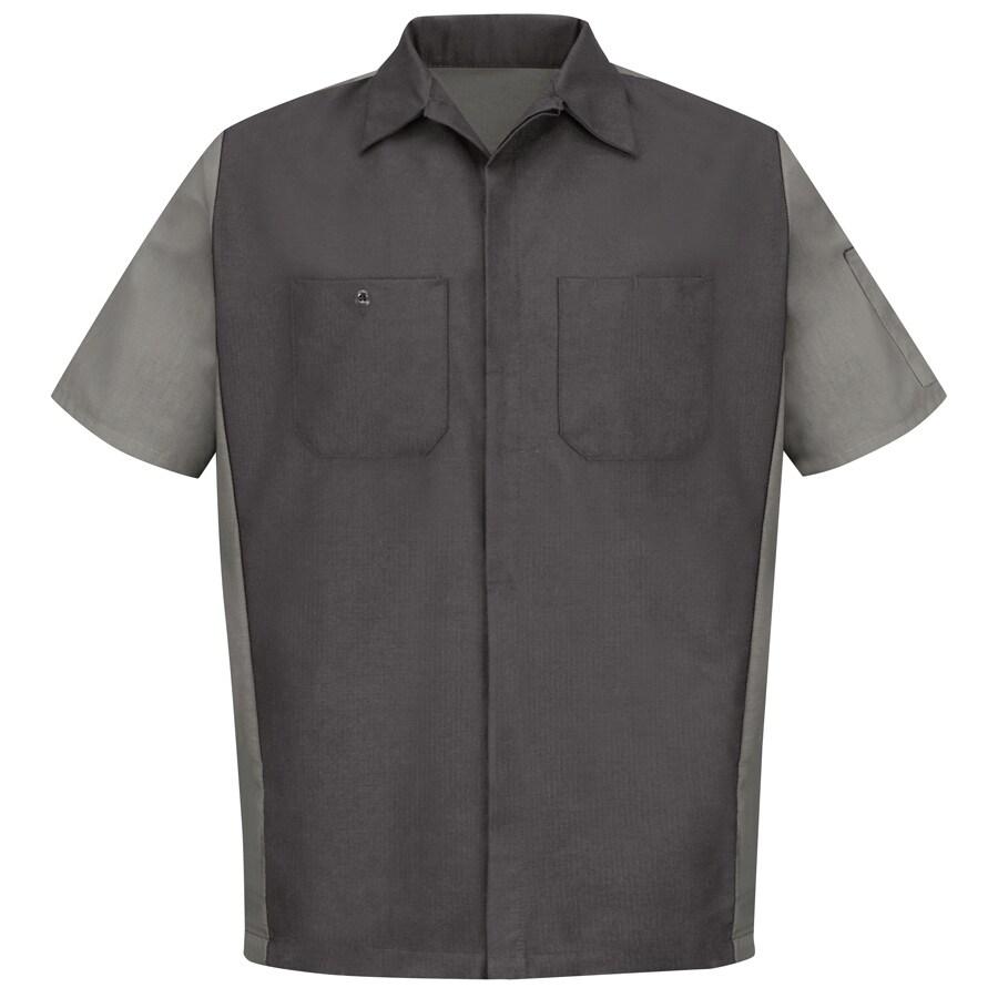 Red Kap Men's Large Charcoal Poplin Polyester Blend Short Sleeve Uniform Work Shirt