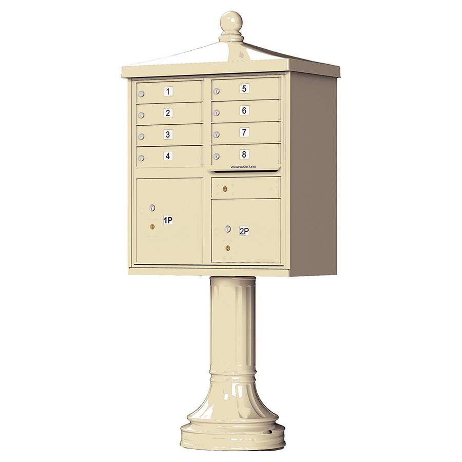 Florence 31-in x 71-in Metal Sandstone Powder-Coat Lockable Cluster Mount Cluster Mailbox