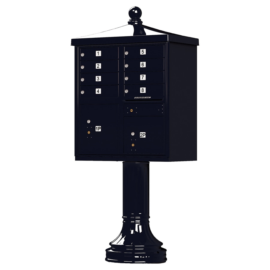 Florence 31-in x 71-in Metal Black Powder-Coat Lockable Cluster Mount Cluster Mailbox