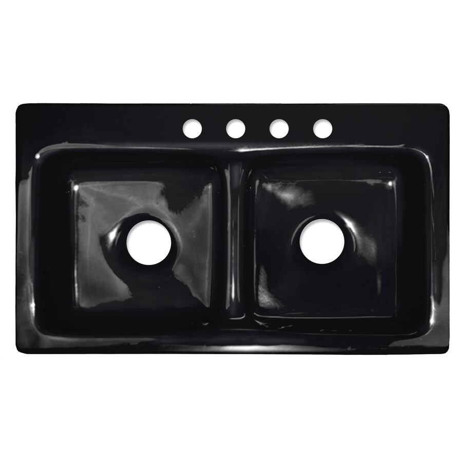 Black Kitchen Sink Lowes: Shop CorStone Cumberland Gloss Black Double-Basin Acrylic