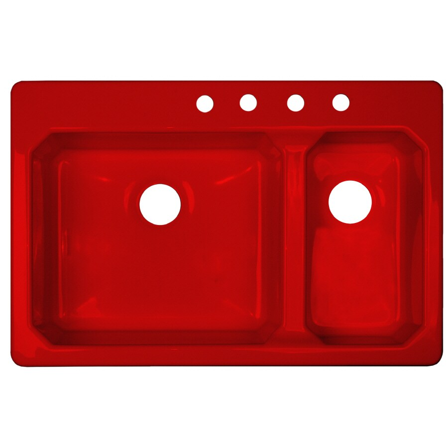 Red Kitchen Sink : CorStone Cranston Gloss Red Double-Basin Acrylic Drop-In Kitchen Sink
