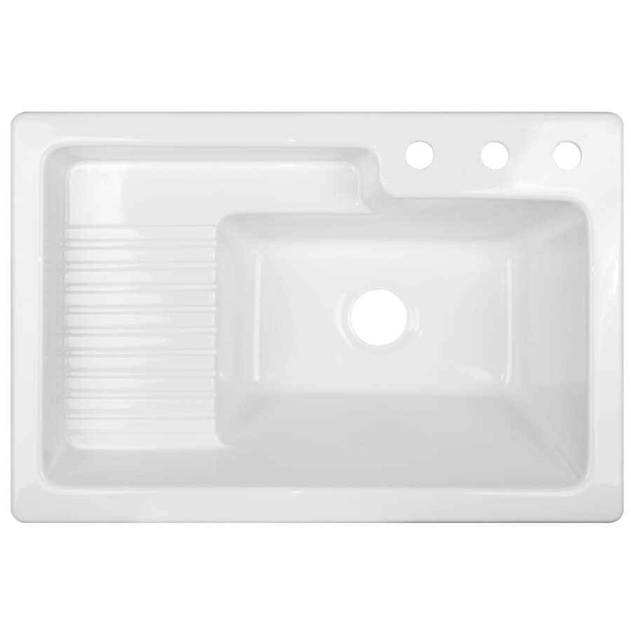 CorStone White Acrylic Self-Rimming Laundry Sink