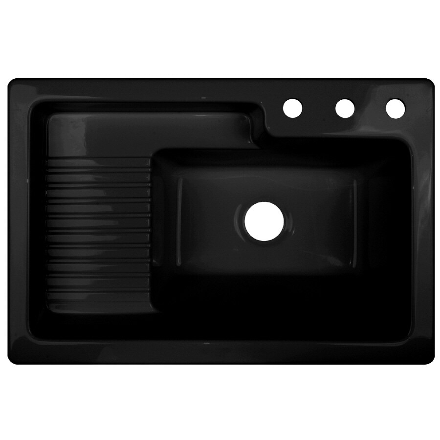 Shop CorStone Black Acrylic Self-Rimming Laundry Sink at ...