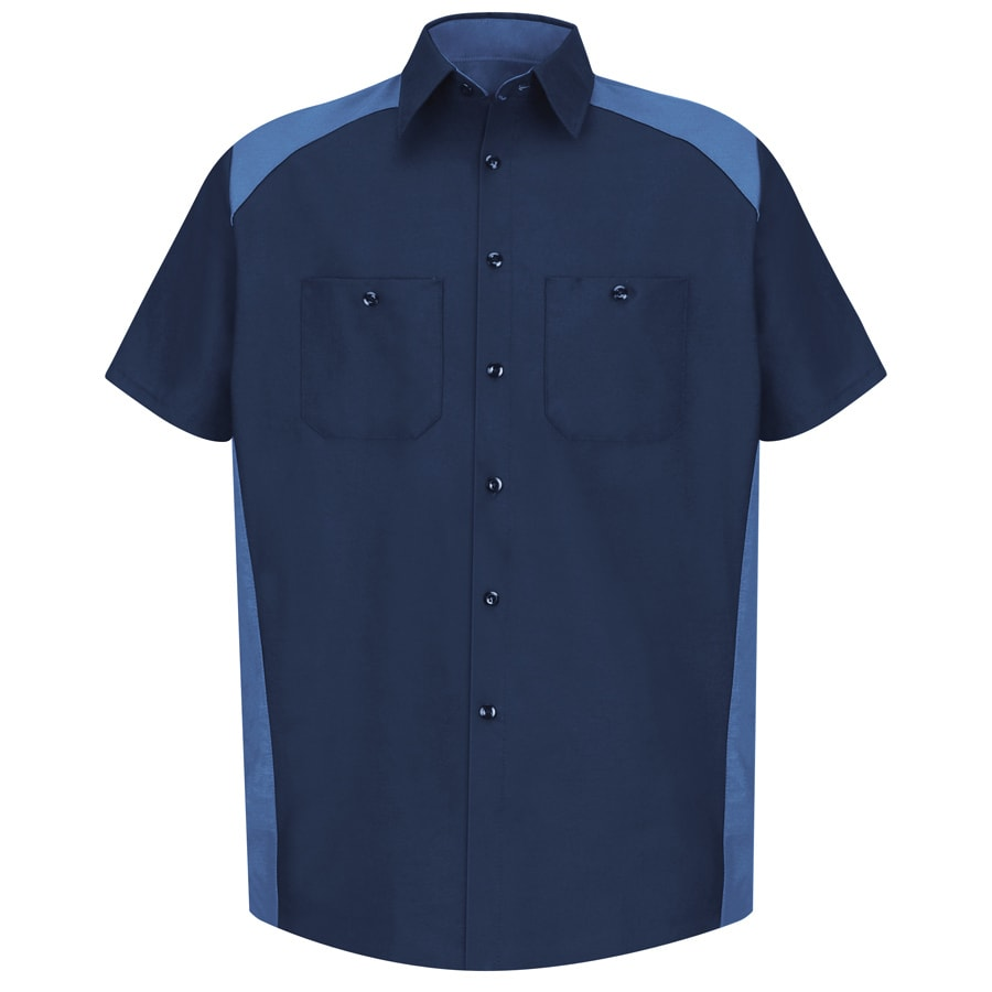 Red Kap Men's 3XL Navy Poplin Polyester Blend Short Sleeve Uniform Work Shirt