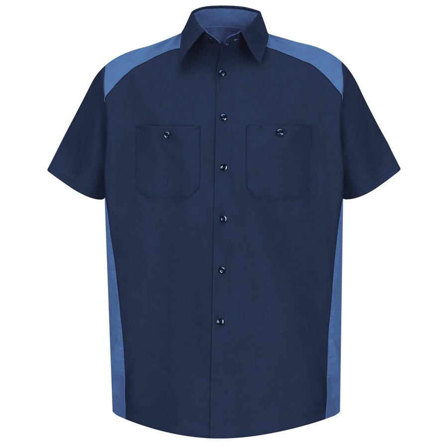 Red Kap Men's 3XL-Long Navy Poplin Polyester Blend Short Sleeve Uniform Work Shirt