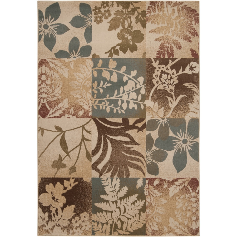 Artistic Weavers Brookhaven Rectangular Cream Floral Woven Area Rug (Common: 5-ft x 8-ft; Actual: 5.25-ft x 7.5-ft)