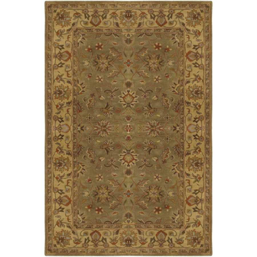 Artistic Weavers Crowne Rectangular Green with Brown Border Area Rug (Common: 8-ft x 11-ft; Actual: 8-ft x 11-ft)