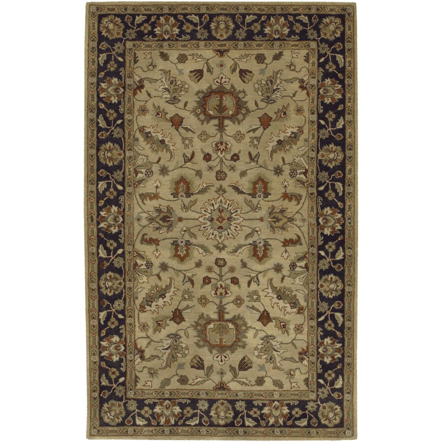 Artistic Weavers Crowne Rectangular Yellow with Brown Border Area Rug (Common: 8-ft x 11-ft; Actual: 8-ft x 11-ft)