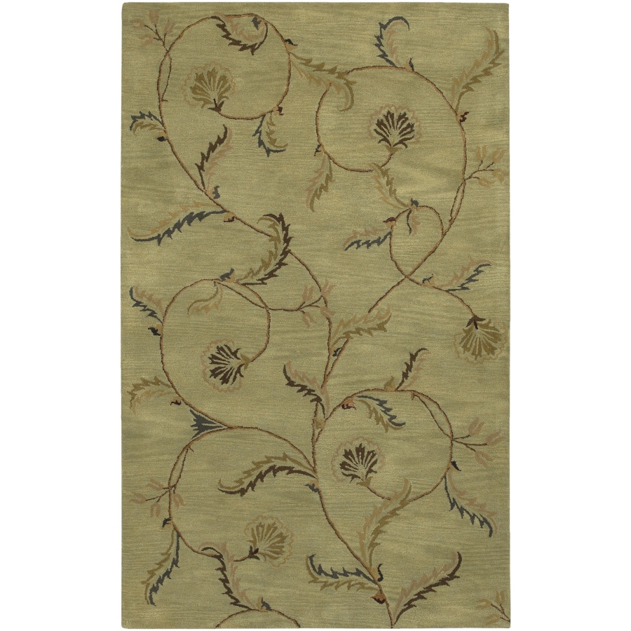 Artistic Weavers Sardinia Rectangular Green Floral Tufted Area Rug (Common: 8-ft x 11-ft; Actual: 8-ft x 11-ft)