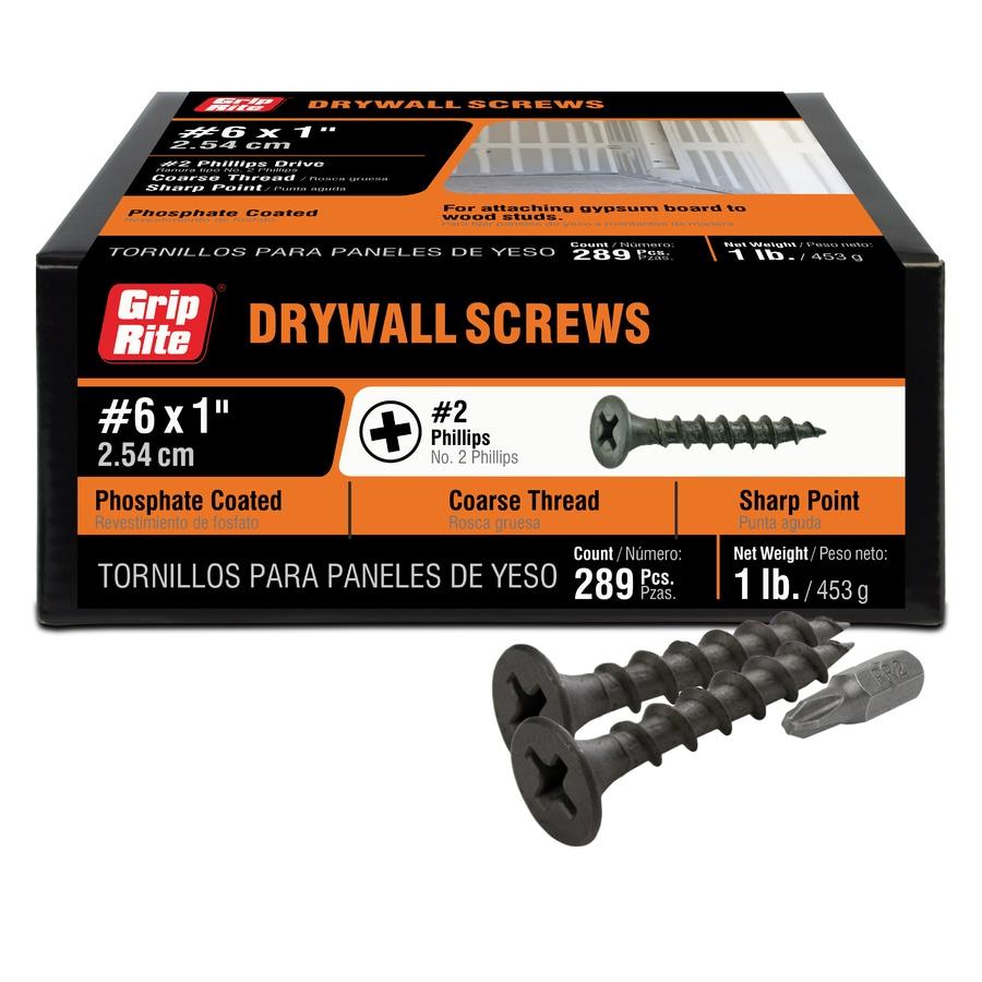 Grip-Rite 1-lb Box #8 x 1-in Bugle-Head Black Phosphate Drywall Screws