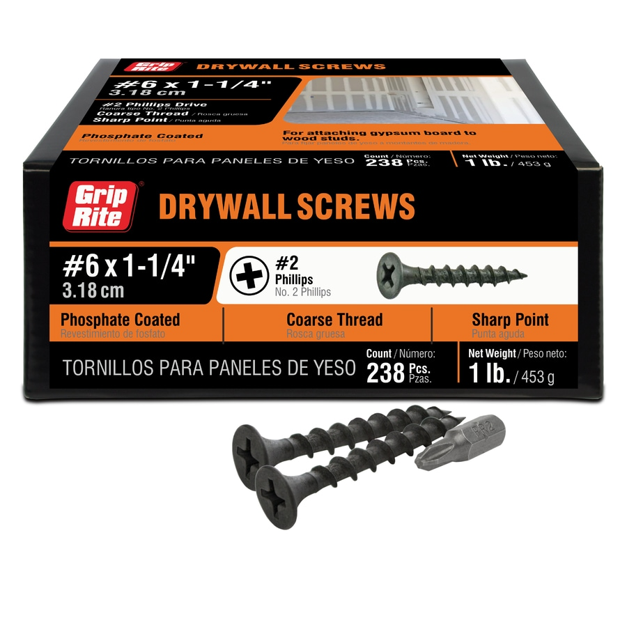 Grip-Rite 1-lb Box #8 x 1.25-in Bugle-Head Black Phosphate Drywall Screws