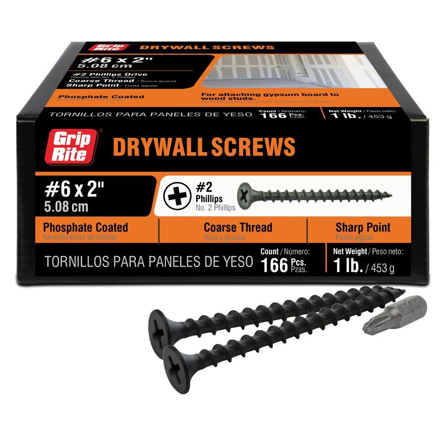 Grip-Rite 1-lb Box #8 x 2-in Bugle-Head Black Phosphate Drywall Screws