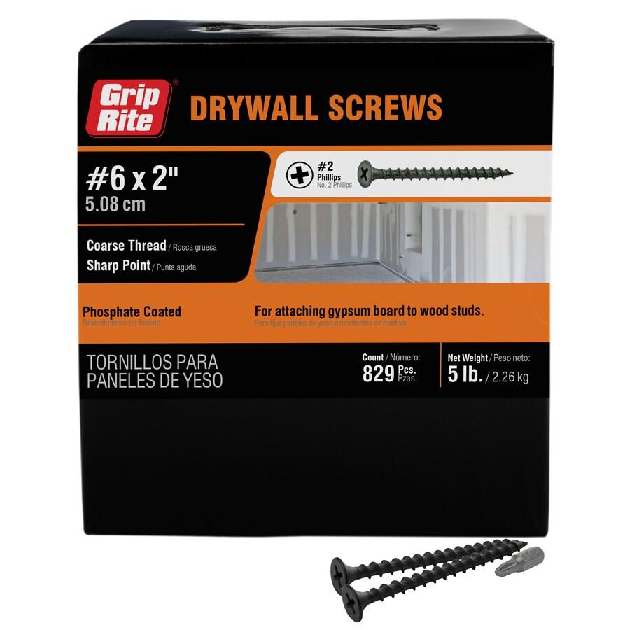 Grip-Rite 5-lb Box #8 x 2-in Bugle-Head Black Phosphate Drywall Screws