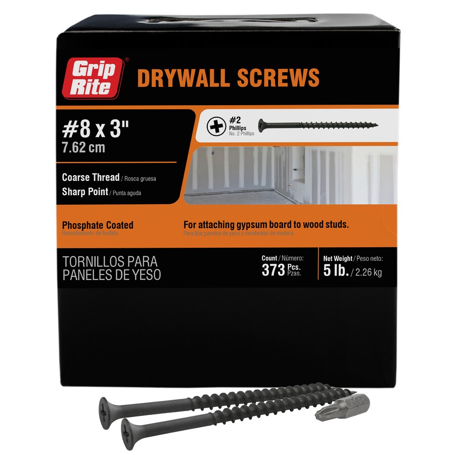 Grip-Rite 5-lb Box #8 x 3-in Bugle-Head Black Phosphate Drywall Screws