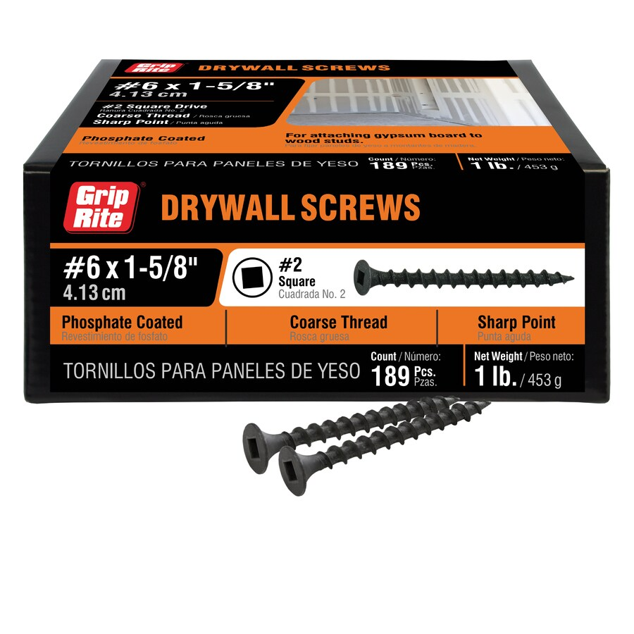 Grip-Rite 1-lb Box #8 x 1.625-in Bugle-Head Black Phosphate Square-Drive Drywall Screws