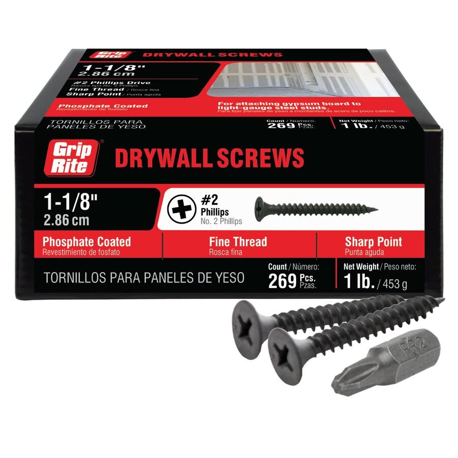 Grip-Rite 1-lb Box #6 x 1.125-in Bugle-Head Black Phosphate Drywall Screws