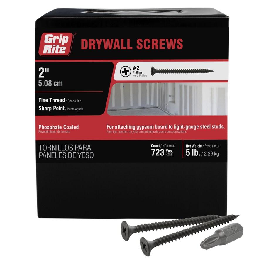 Grip-Rite 5-lb Box #6 x 2-in Bugle-Head Black Phosphate Drywall Screws
