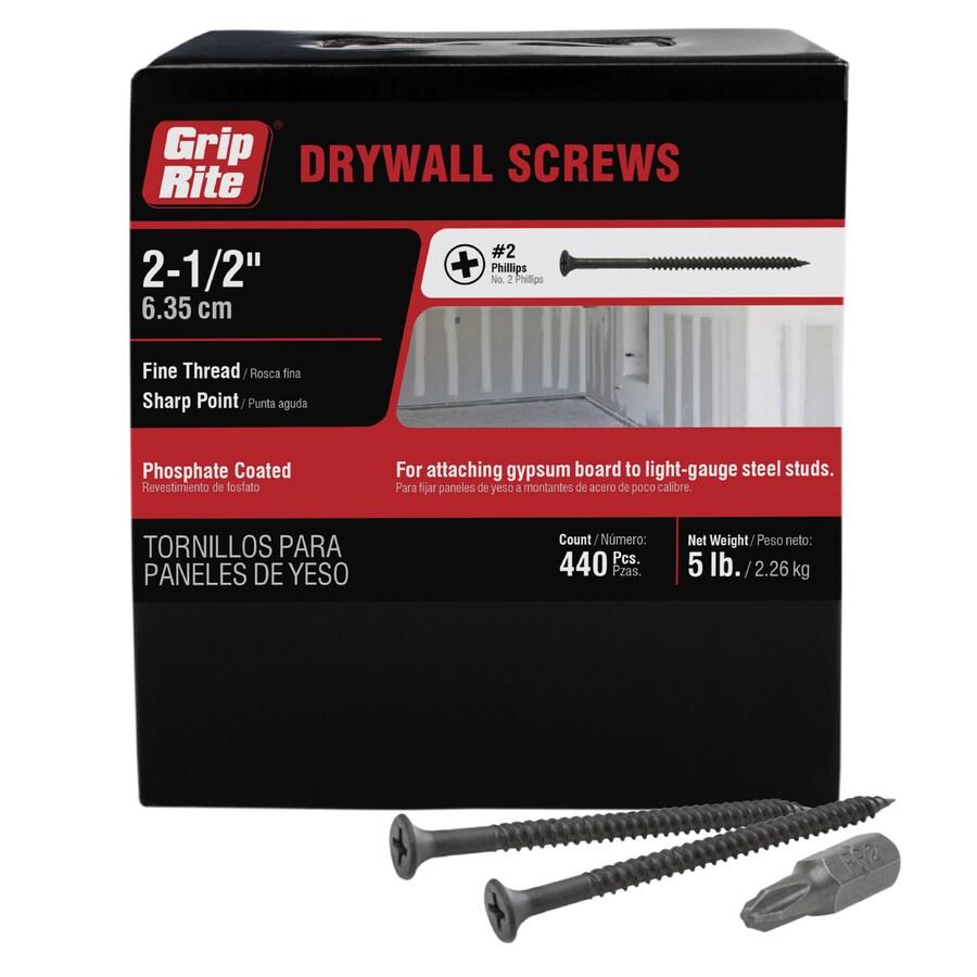 Grip-Rite 5-lb Box #8 x 2.5-in Bugle-Head Black Phosphate Drywall Screws