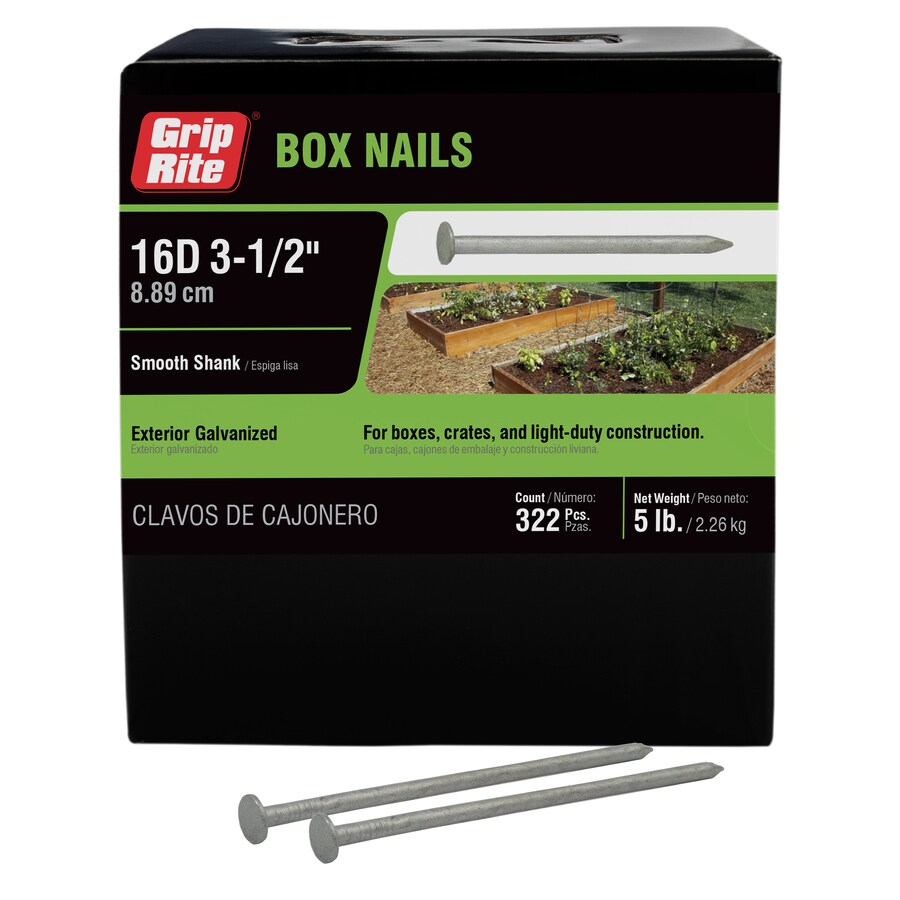 Grip-Rite 5-lb 16D 3.5-in Hot-Dipped Galvanized Smooth Box Nails