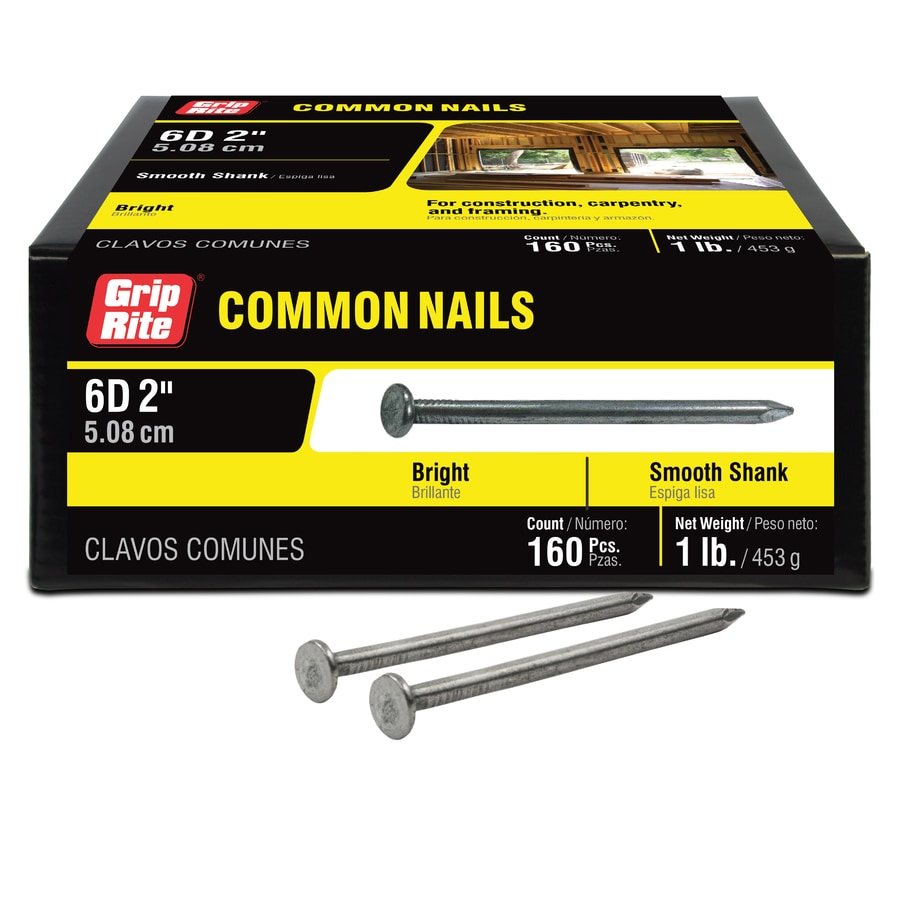 Grip-Rite 1-lb 11.5-Gauge 2-in Bright Steel Smooth Nails