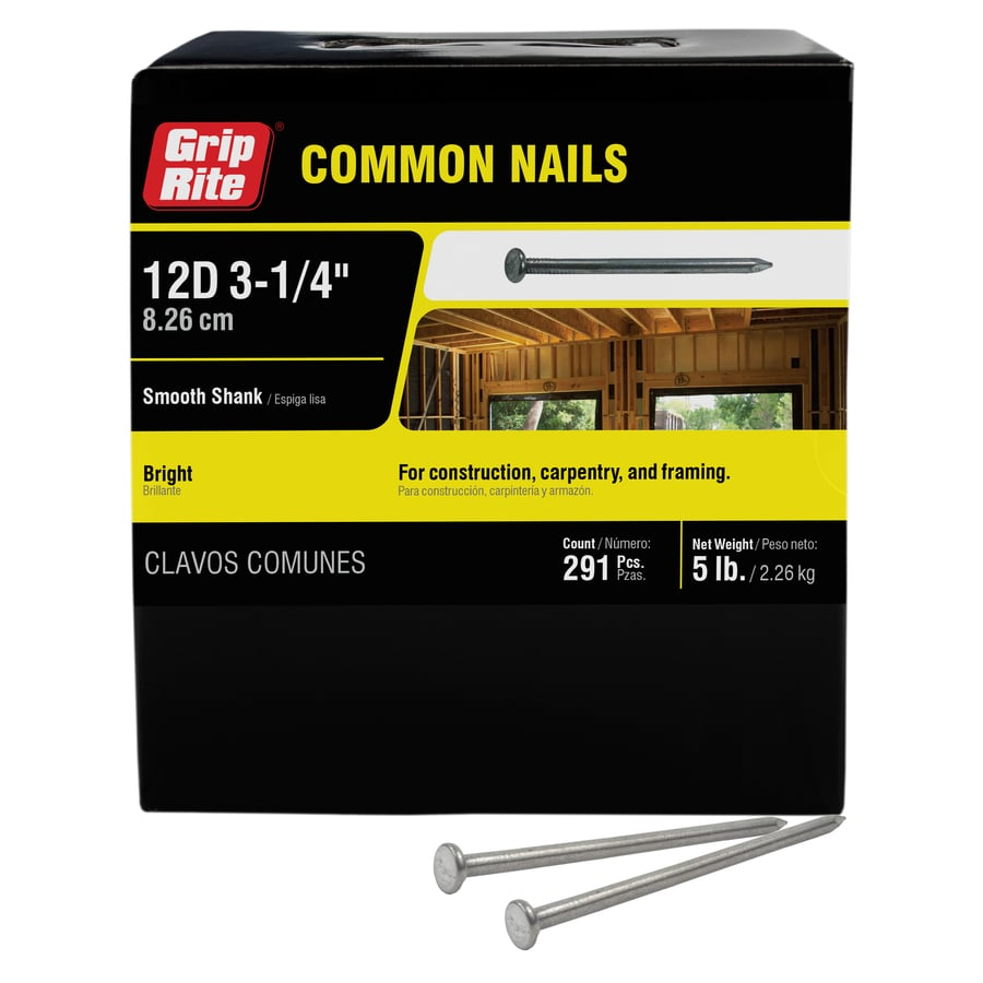 Grip-Rite 5-lb 9-Gauge 3.25-in Bright Steel Smooth Nails
