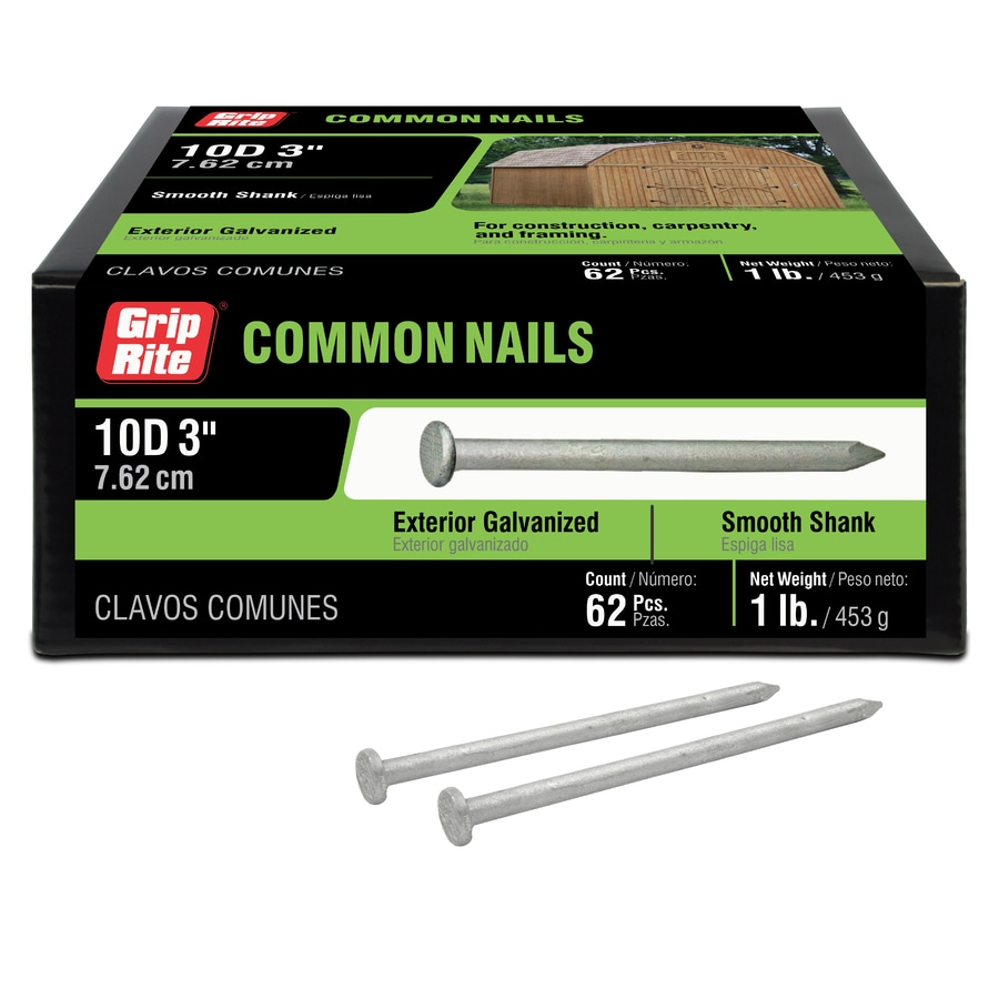 Grip-Rite 1-lb 9-Gauge 3-in Hot-Dipped Galvanized Smooth Nails