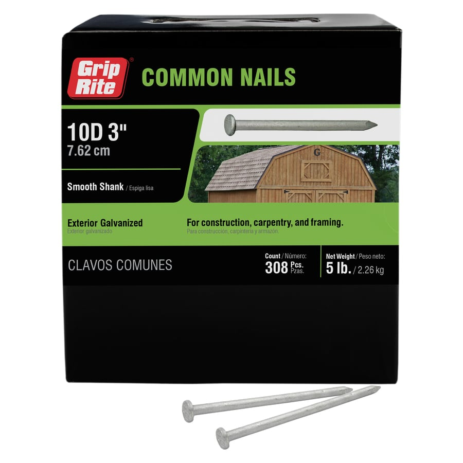 Grip-Rite 5-lb 9-Gauge 3-in Hot-Dipped Galvanized Smooth Nails