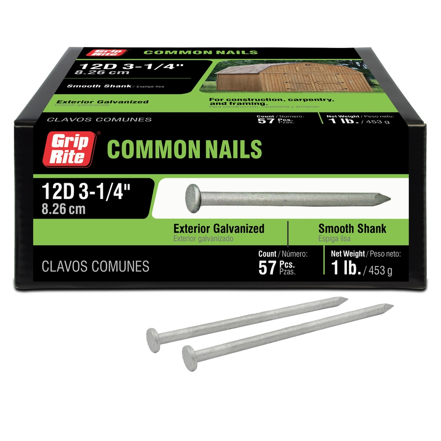 Grip-Rite 1-lb 9-Gauge 3.25-in Hot-Dipped Galvanized Smooth Nails