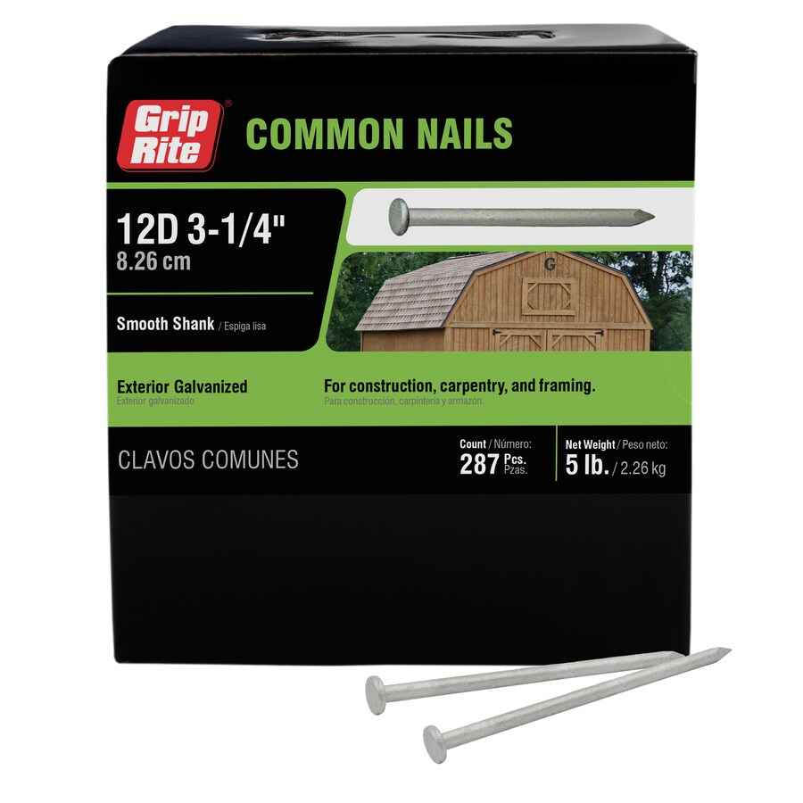 Grip-Rite 5-lb 9-Gauge 3.25-in Hot-Dipped Galvanized Smooth Nails