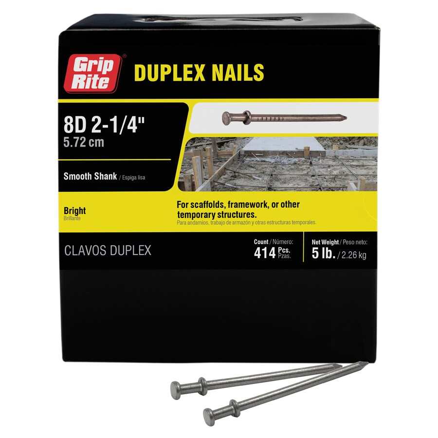 Grip-Rite 5-lb 10.25-Gauge 2.25-in Bright Steel Duplex Nails