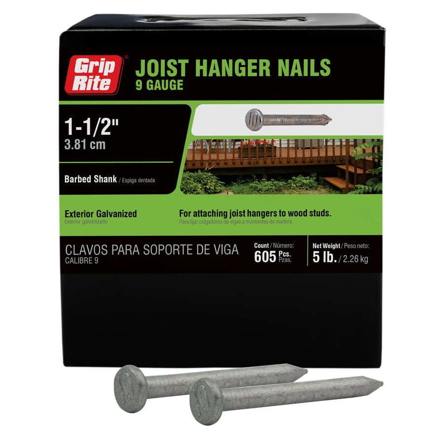 Grip-Rite 5-lb 9-Gauge 1.5-in Hot-Dipped Galvanized Smooth Joist Hanger Nails
