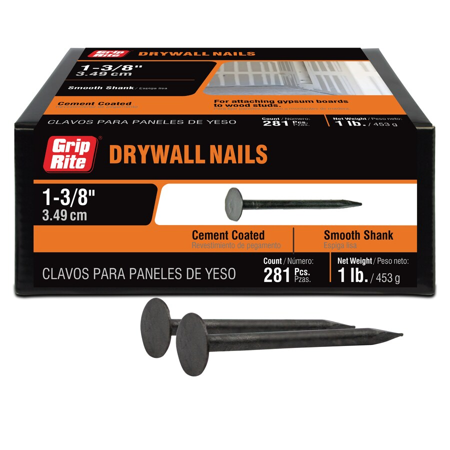 Grip-Rite 1-lb Box 12.5-Gauge 1.38-in Coated Smooth Drywall Nails