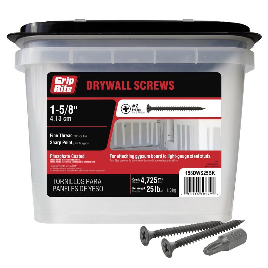 Grip-Rite 25-lb #6 x 1.625-in Bugle-Head Black Phosphate Drywall Screws