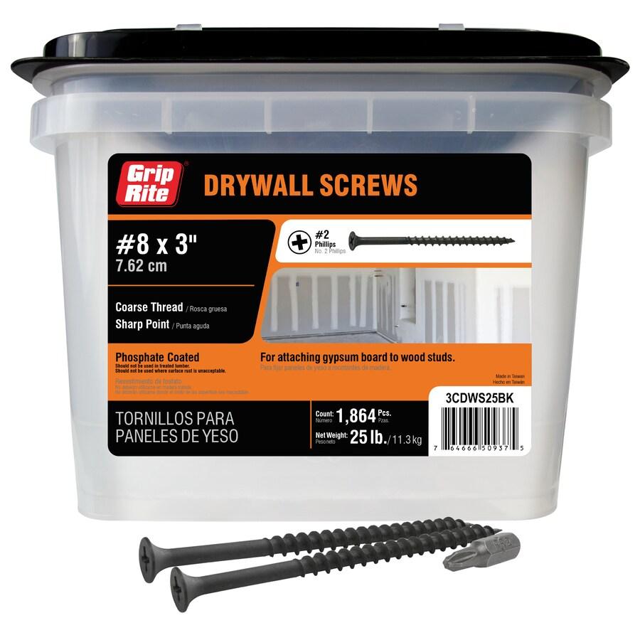 Grip-Rite 25-lb Box #8 x 3-in Bugle-Head Black Phosphate Drywall Screws