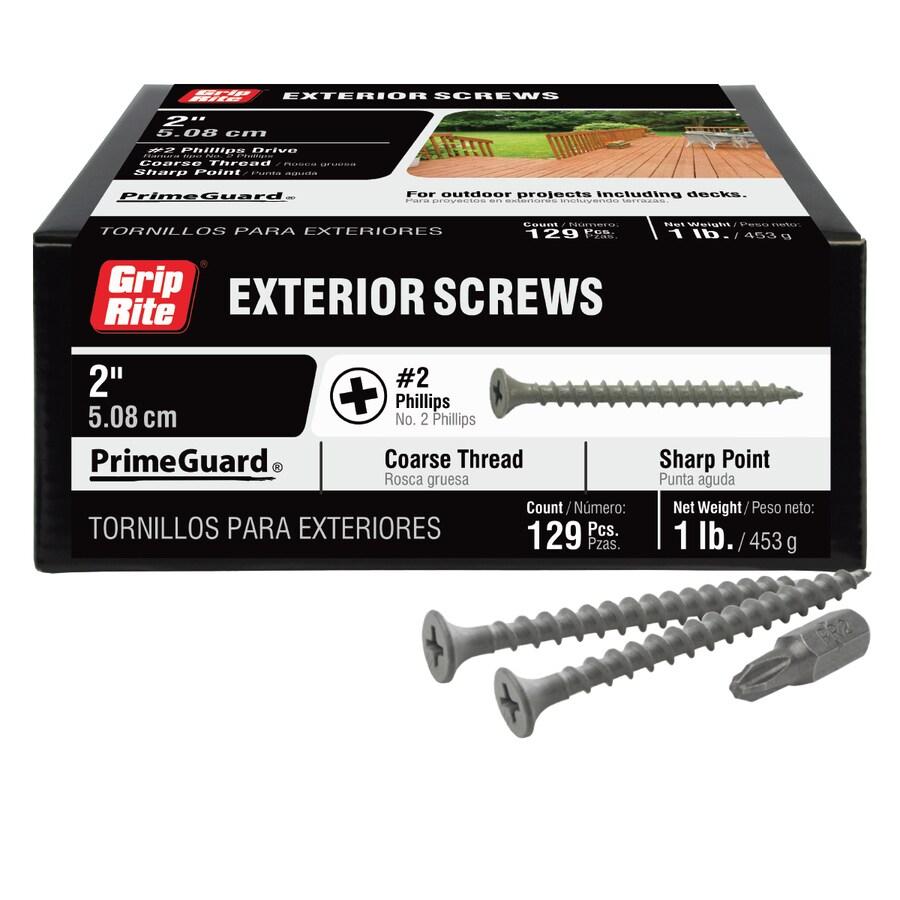 Grip Rite PrimeGuard Ten 1-lb Box #7 x 2-in Countersinking-Head Polymer-Coated Deck Screws