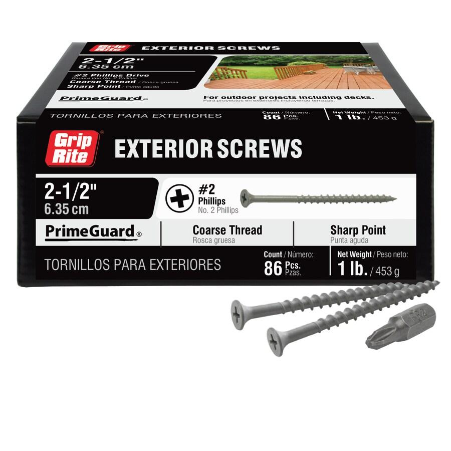 Grip Rite PrimeGuard Ten 1-lb Box #8 x 2.5-in Countersinking-Head Polymer-Coated Deck Screws